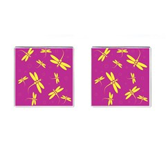 Purple and yellow dragonflies pattern Cufflinks (Square)