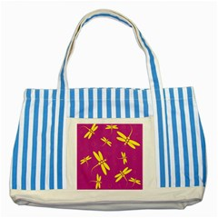 Purple and yellow dragonflies pattern Striped Blue Tote Bag