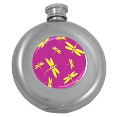 Purple and yellow dragonflies pattern Round Hip Flask (5 oz)