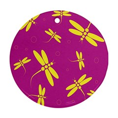 Purple and yellow dragonflies pattern Round Ornament (Two Sides)