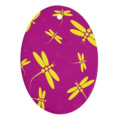 Purple and yellow dragonflies pattern Oval Ornament (Two Sides)