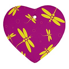 Purple and yellow dragonflies pattern Heart Ornament (2 Sides)