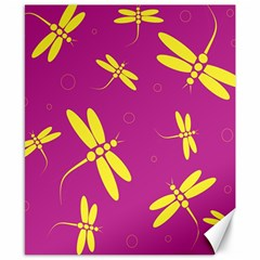 Purple and yellow dragonflies pattern Canvas 8  x 10