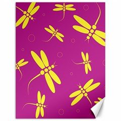 Purple and yellow dragonflies pattern Canvas 12  x 16