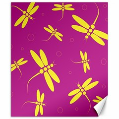 Purple and yellow dragonflies pattern Canvas 20  x 24