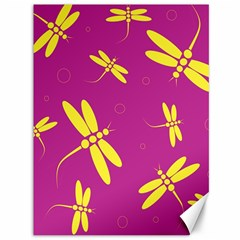 Purple and yellow dragonflies pattern Canvas 36  x 48