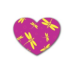 Purple and yellow dragonflies pattern Rubber Coaster (Heart)