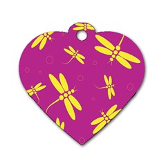 Purple and yellow dragonflies pattern Dog Tag Heart (One Side)