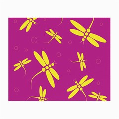 Purple and yellow dragonflies pattern Small Glasses Cloth (2-Side)