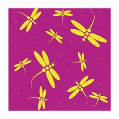 Purple And Yellow Dragonflies Pattern Medium Glasses Cloth (2 Side)