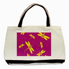 Purple and yellow dragonflies pattern Basic Tote Bag (Two Sides)