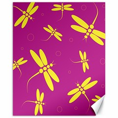 Purple and yellow dragonflies pattern Canvas 11  x 14