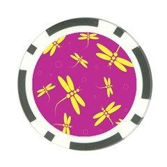 Purple and yellow dragonflies pattern Poker Chip Card Guards