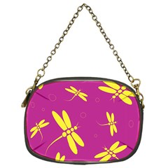 Purple and yellow dragonflies pattern Chain Purses (One Side)