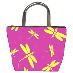Purple and yellow dragonflies pattern Bucket Bags
