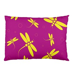 Purple and yellow dragonflies pattern Pillow Case
