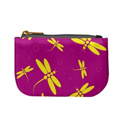 Purple and yellow dragonflies pattern Mini Coin Purses