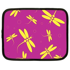 Purple and yellow dragonflies pattern Netbook Case (XL)