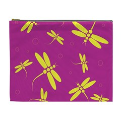 Purple and yellow dragonflies pattern Cosmetic Bag (XL)