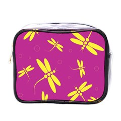 Purple and yellow dragonflies pattern Mini Toiletries Bags