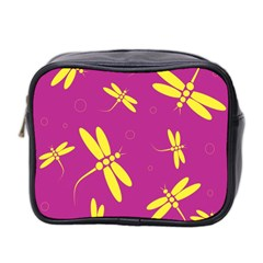 Purple and yellow dragonflies pattern Mini Toiletries Bag 2-Side