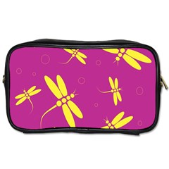 Purple and yellow dragonflies pattern Toiletries Bags