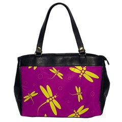 Purple and yellow dragonflies pattern Office Handbags