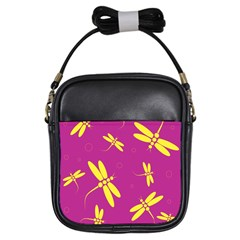 Purple and yellow dragonflies pattern Girls Sling Bags