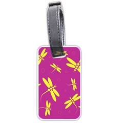 Purple and yellow dragonflies pattern Luggage Tags (Two Sides)