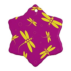 Purple and yellow dragonflies pattern Ornament (Snowflake)