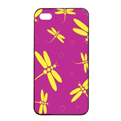 Purple and yellow dragonflies pattern Apple iPhone 4/4s Seamless Case (Black)