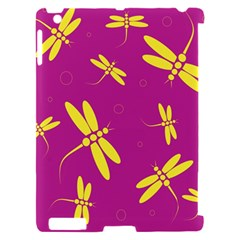 Purple and yellow dragonflies pattern Apple iPad 2 Hardshell Case (Compatible with Smart Cover)