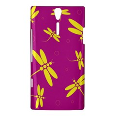 Purple and yellow dragonflies pattern Sony Xperia S