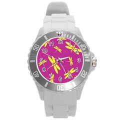 Purple and yellow dragonflies pattern Round Plastic Sport Watch (L)
