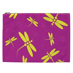 Purple and yellow dragonflies pattern Cosmetic Bag (XXL)