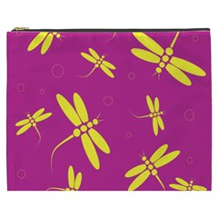 Purple and yellow dragonflies pattern Cosmetic Bag (XXXL)