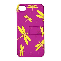 Purple and yellow dragonflies pattern Apple iPhone 4/4S Hardshell Case with Stand