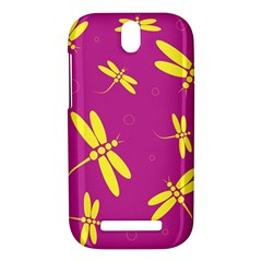 Purple and yellow dragonflies pattern HTC One SV Hardshell Case