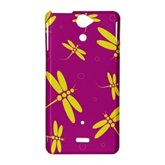 Purple and yellow dragonflies pattern Sony Xperia V