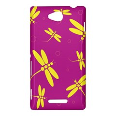 Purple and yellow dragonflies pattern Sony Xperia C (S39H)