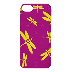Purple and yellow dragonflies pattern Apple iPhone 5S/ SE Hardshell Case