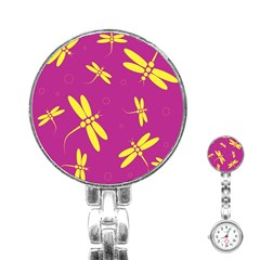 Purple and yellow dragonflies pattern Stainless Steel Nurses Watch