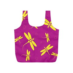 Purple and yellow dragonflies pattern Full Print Recycle Bags (S)