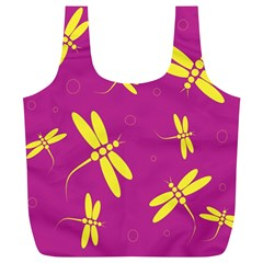 Purple and yellow dragonflies pattern Full Print Recycle Bags (L)