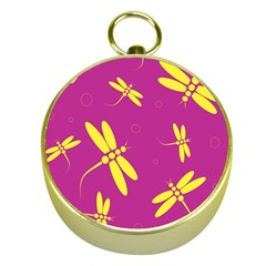 Purple and yellow dragonflies pattern Gold Compasses