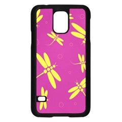 Purple and yellow dragonflies pattern Samsung Galaxy S5 Case (Black)