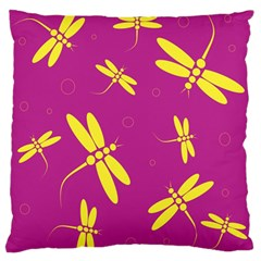 Purple and yellow dragonflies pattern Standard Flano Cushion Case (One Side)