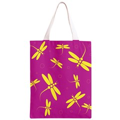 Purple and yellow dragonflies pattern Classic Light Tote Bag