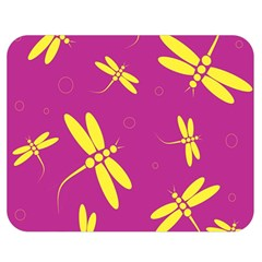 Purple and yellow dragonflies pattern Double Sided Flano Blanket (Medium)
