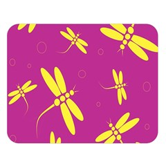 Purple and yellow dragonflies pattern Double Sided Flano Blanket (Large)
